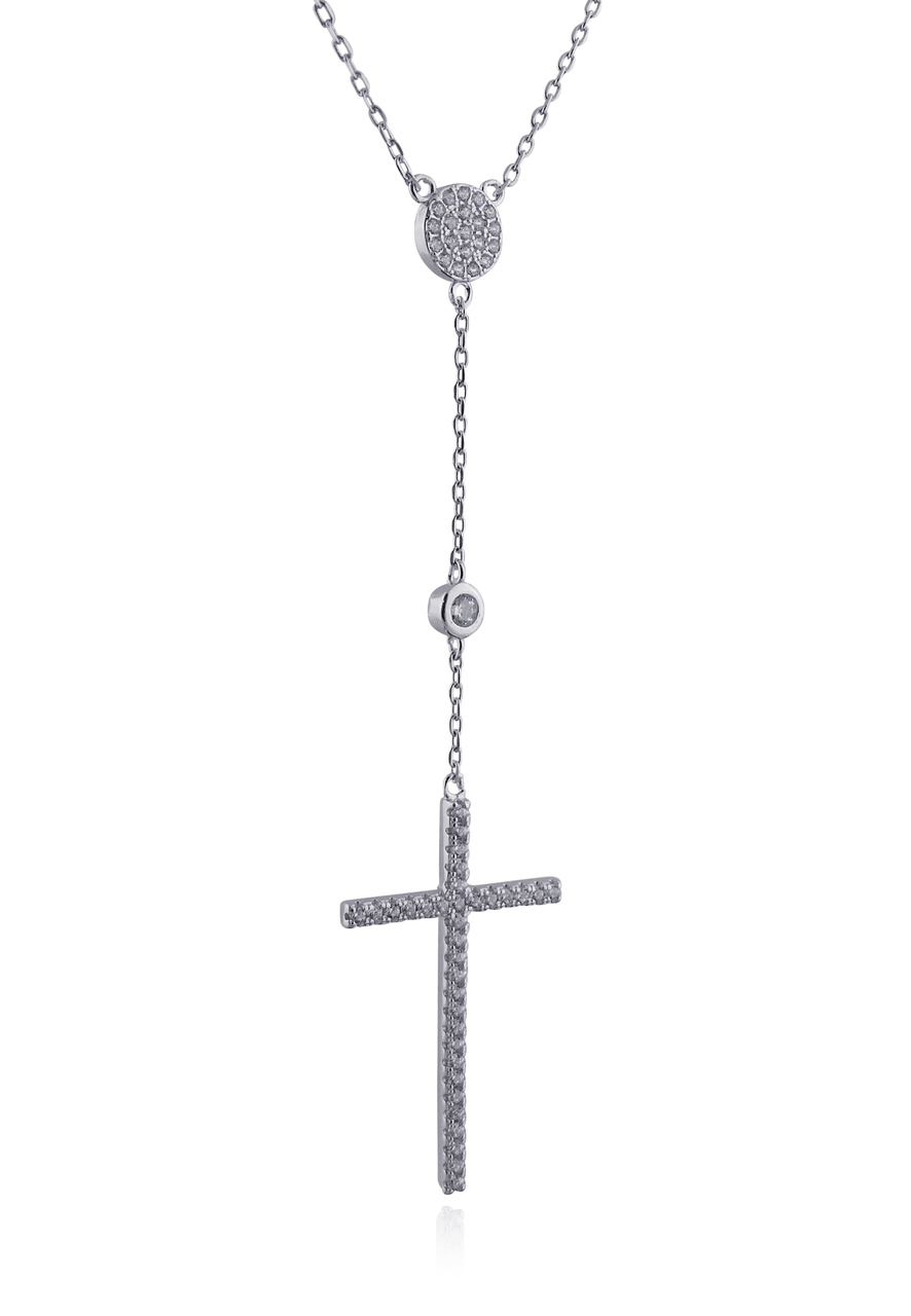 CZ Cross Y-NECKLACE - 925 Sterling Silver Dangle Lariat