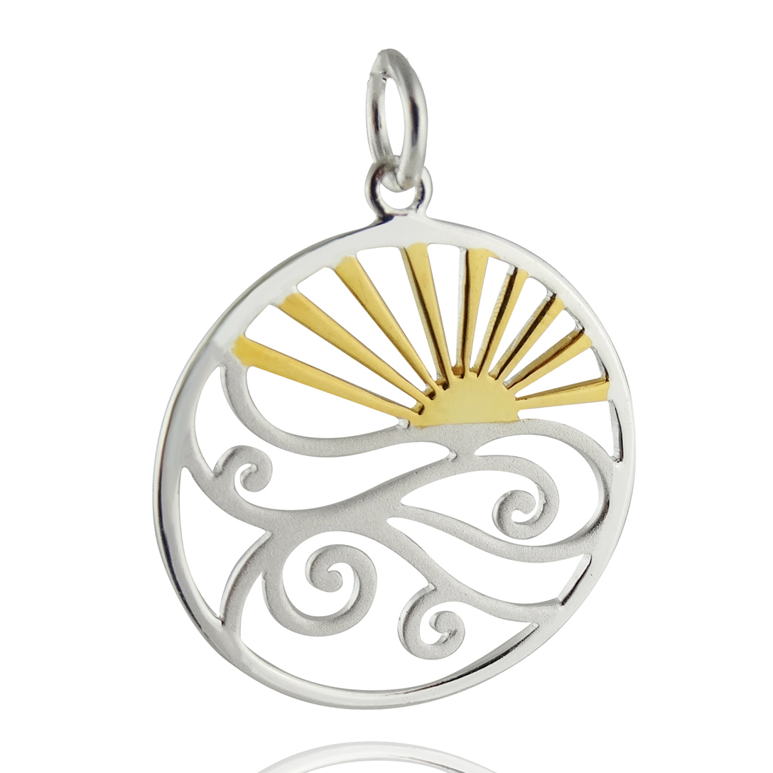 Sunset over Ocean Waves Pendant - Sterling Silver with Gold Plate Accent