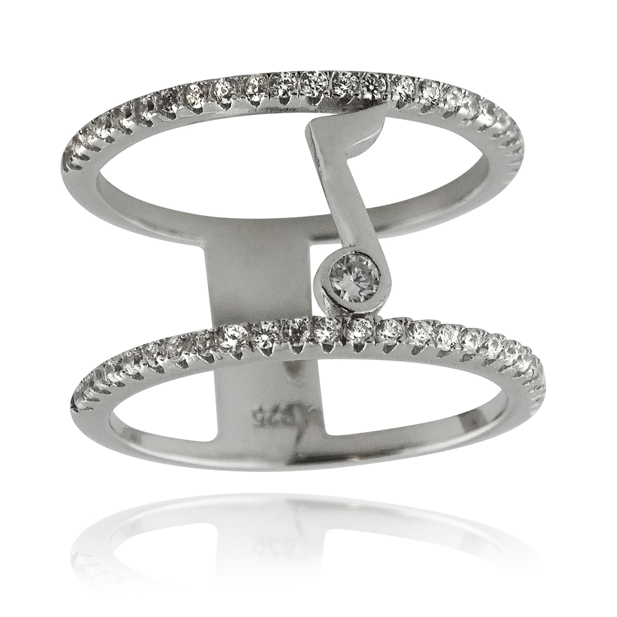 Double Band MUSIC Note Ring - Sterling Silver CZ