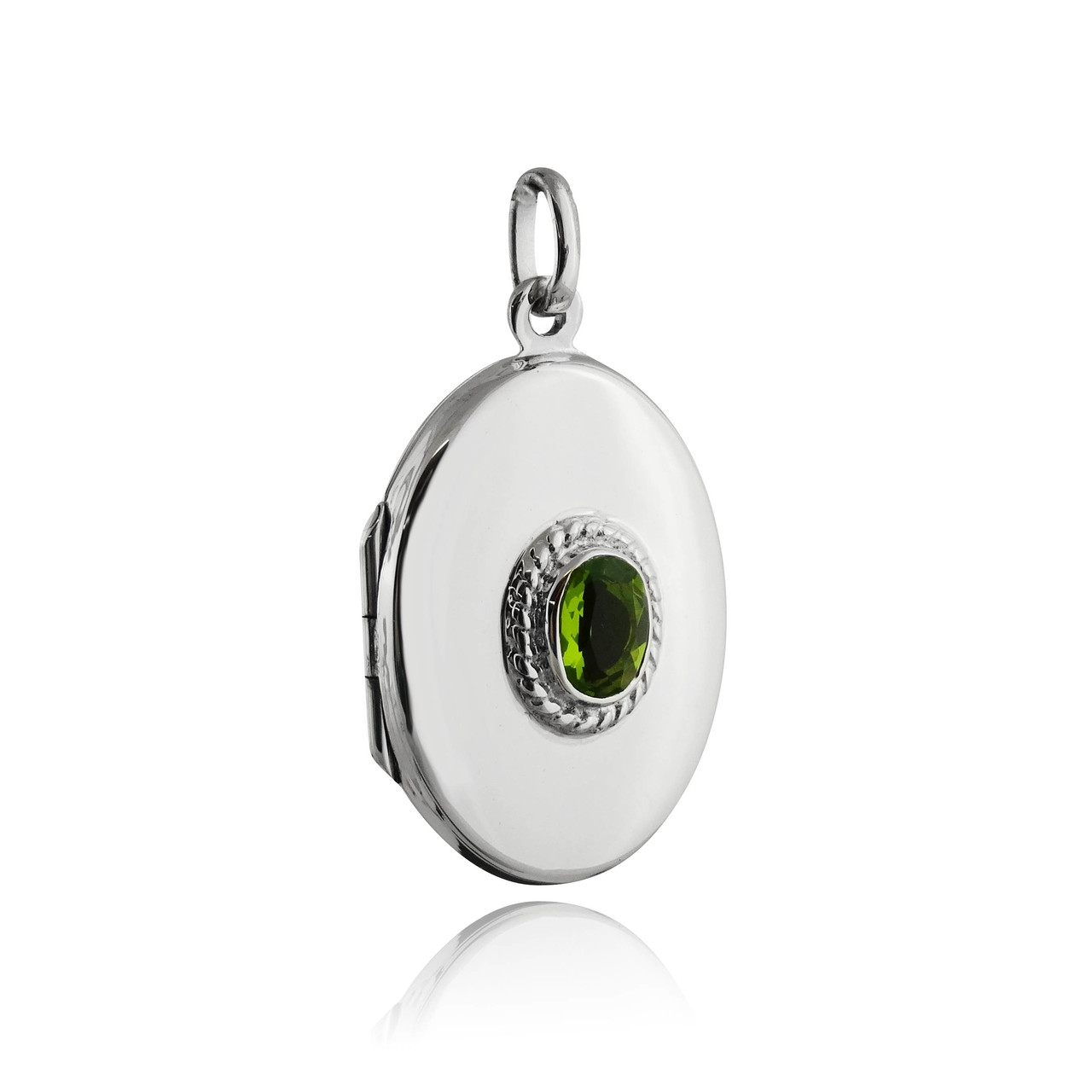 Sterling Silver 2 Photo Oval Locket with Glass PERIDOT