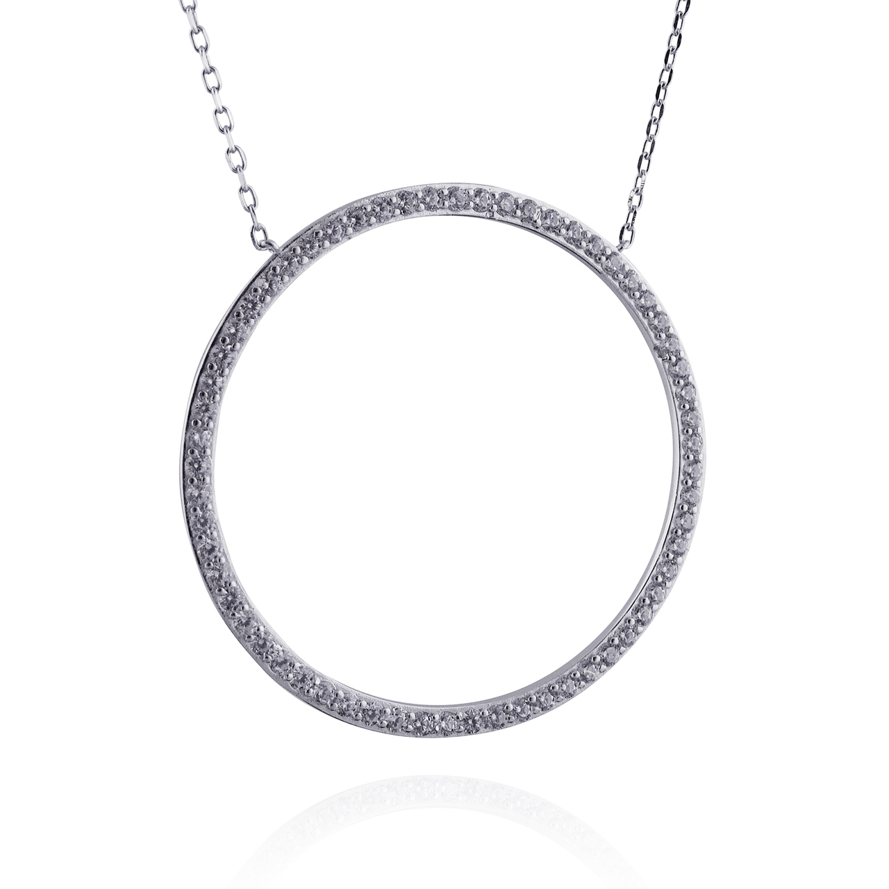 CZ Round Circle Necklace - 925 Sterling Silver - Simple Karma