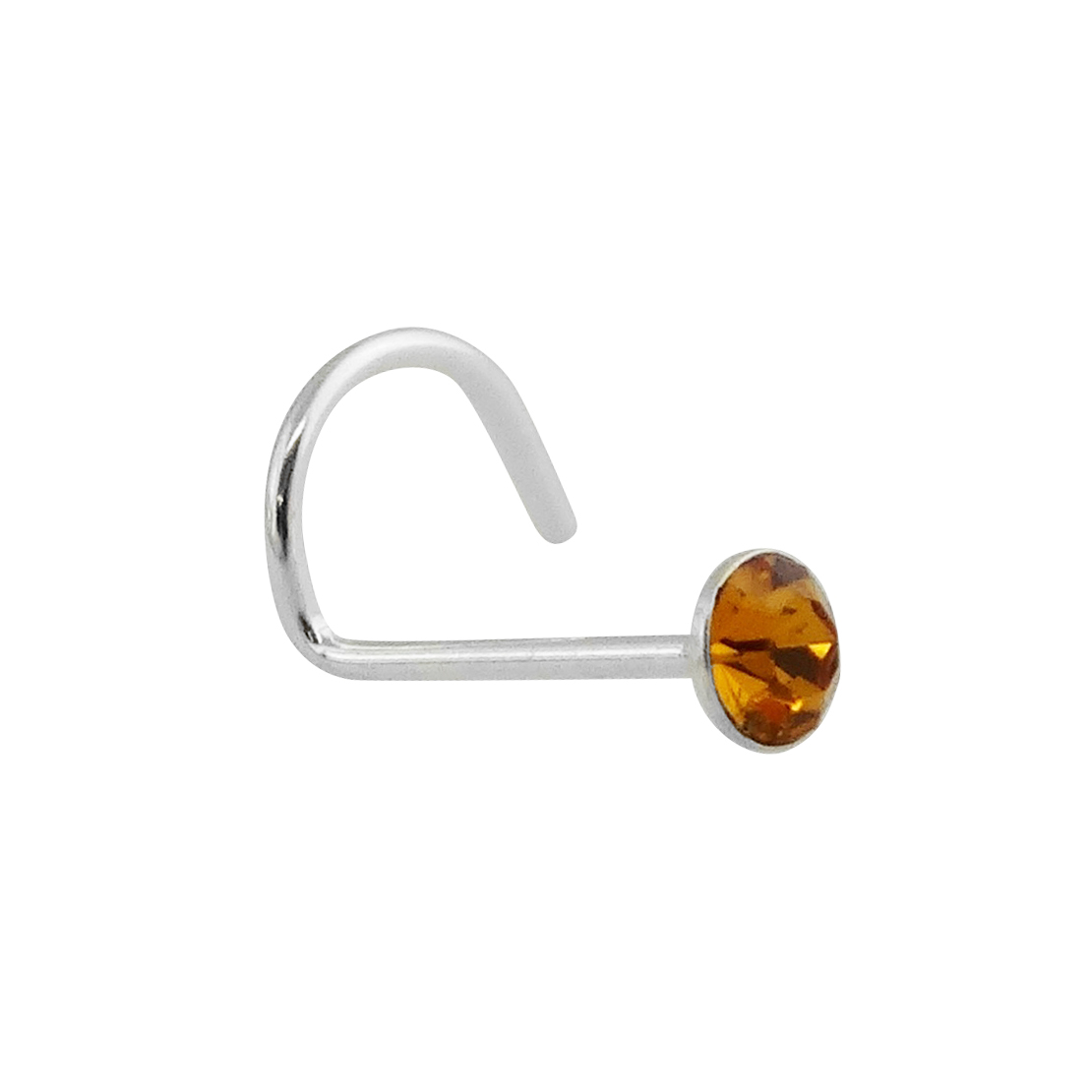 Orange Round CZ Nose Stud with Nostril Screw - 925 Sterling Silver - November