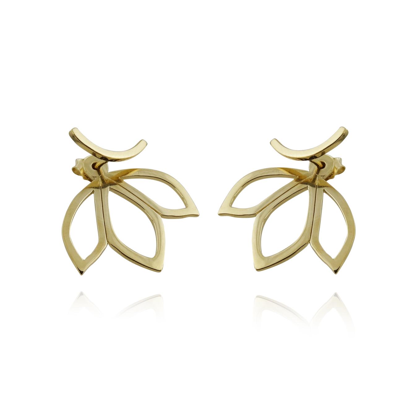 Lotus Petal JACKET Earrings - Gold Plated 925 Sterling Silver