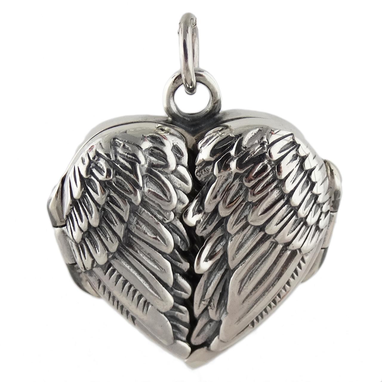 Angel Wings Heart Locket - 925 Sterling Silver - Love Gift Memorial Pendant NEW