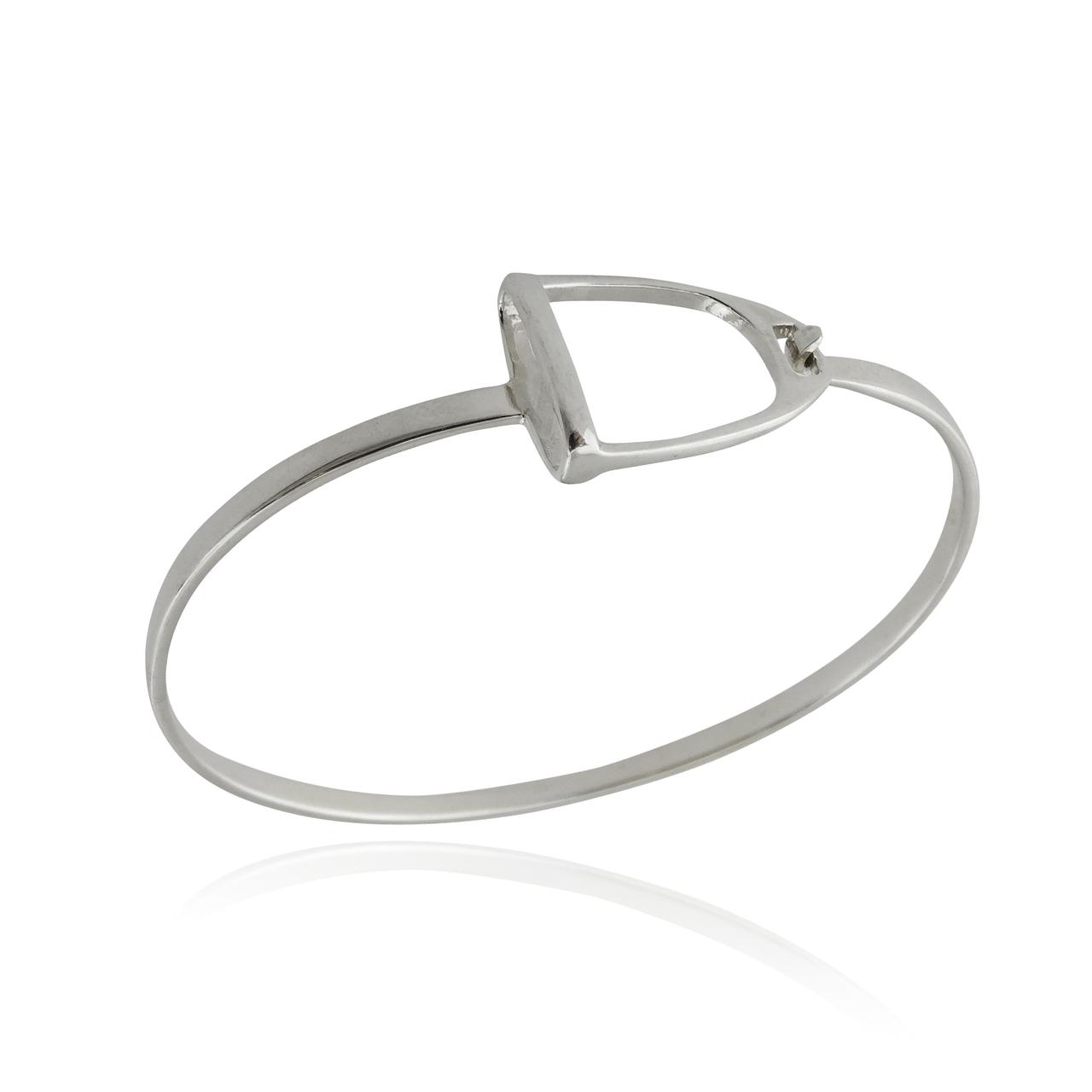 Stirrup BANGLE Bracelet - 925 Sterling Silver - Horse Saddle