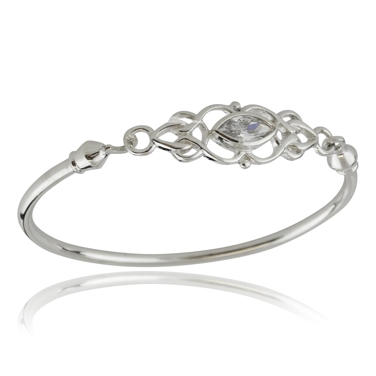 Celtic Knot CZ BANGLE Bracelet - 925 Sterling Silver Marquis