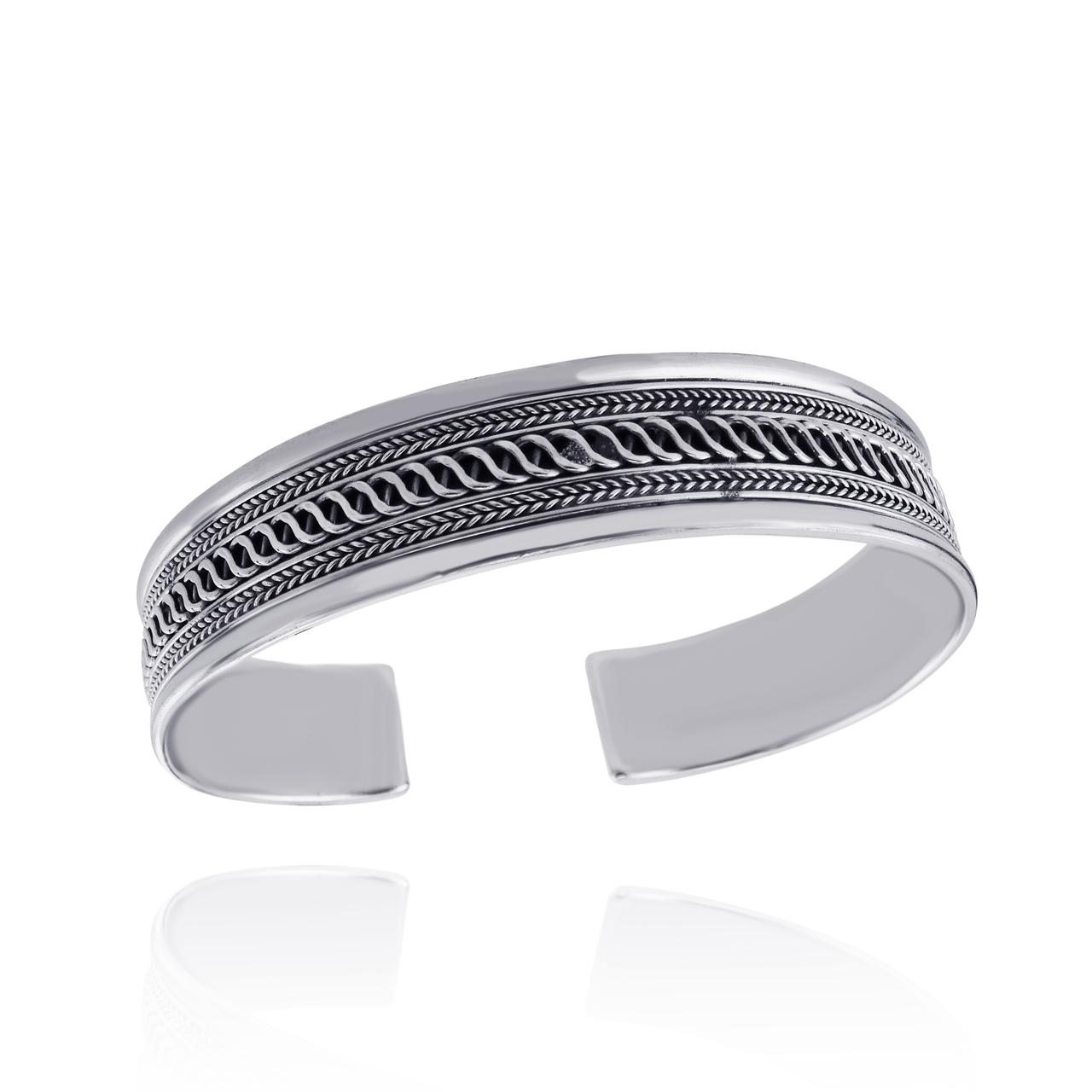 ''7.5'''' Twist Design Cuff Bracelet - 925 Sterling Silver - Braided Unisex''