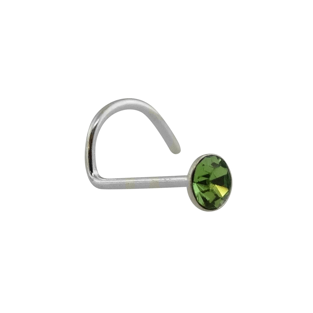 Light Green Round CZ Nose Stud with Nostril Screw - 925 Sterling Silver