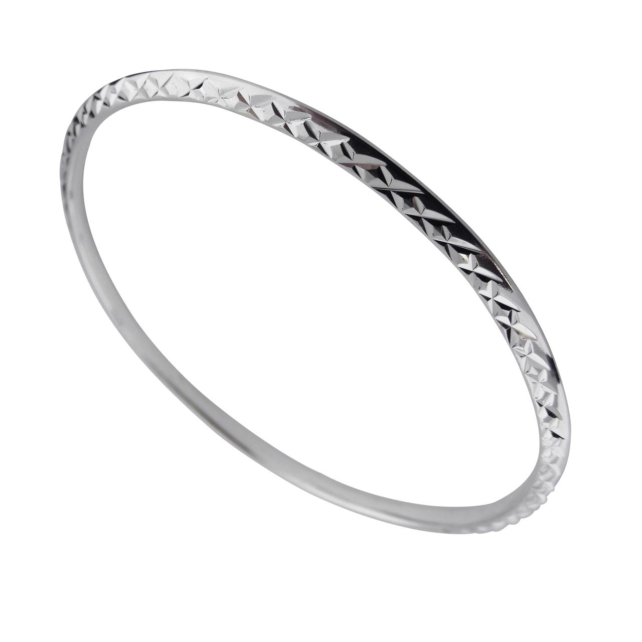 Round Diamond-Cut Sterling Silver BANGLE Bracelet - 925 Hollow