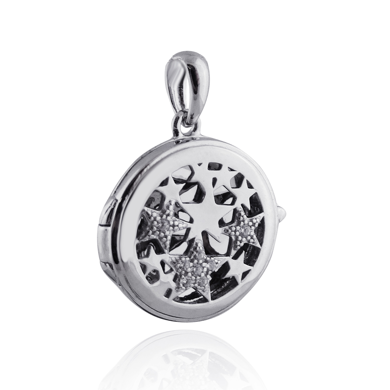 Round Locket with CZ Stars Pendant - 925 Sterling Silver