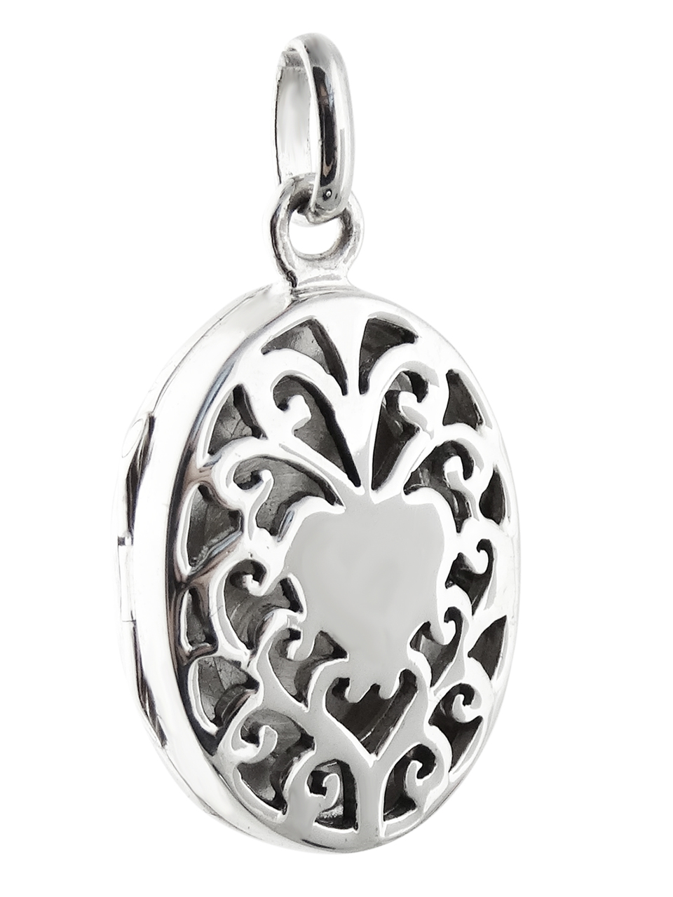 Oval Filigree Heart Locket - 925 Sterling Silver