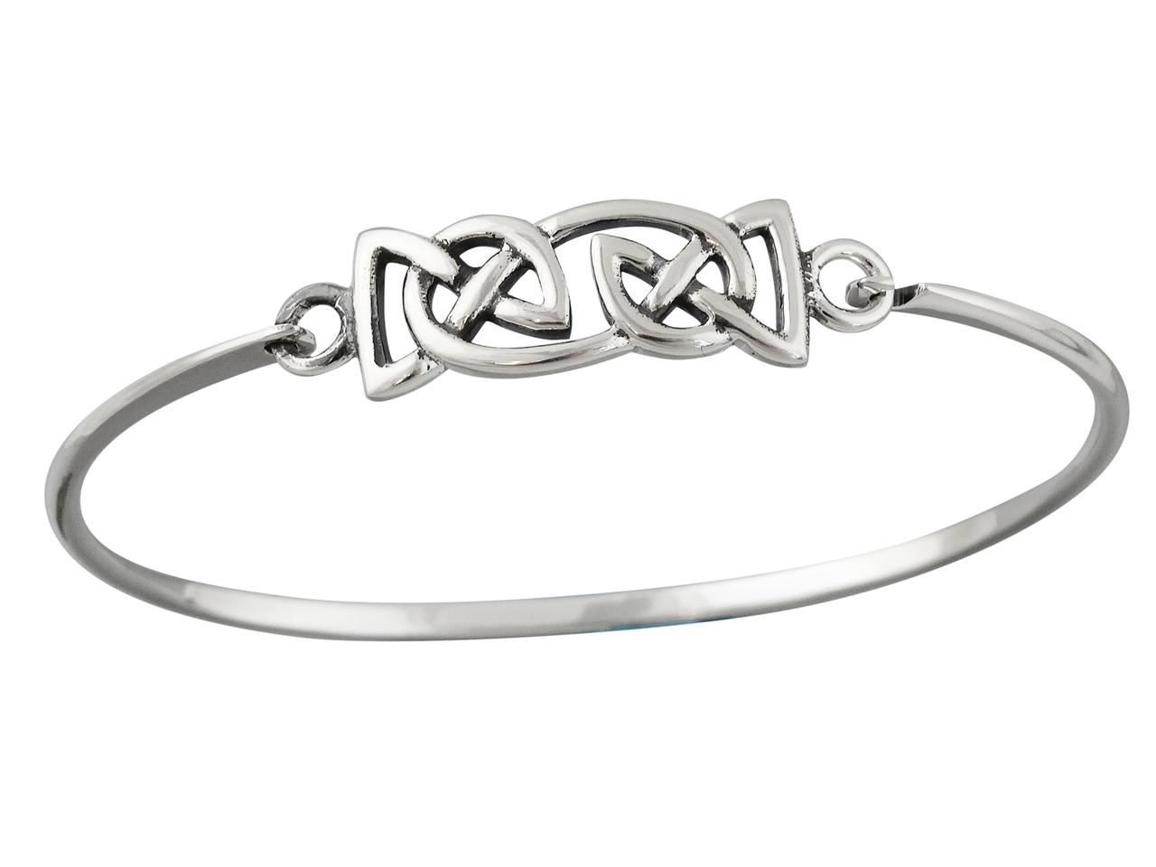 Trinity Celtic Knot BANGLE Bracelet - 925 Sterling Silver