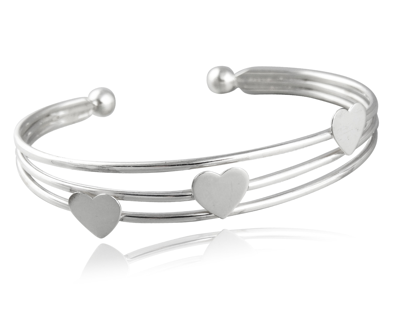 Three Hearts Cuff BANGLE Bracelet - 925 Sterling Silver Adjustable