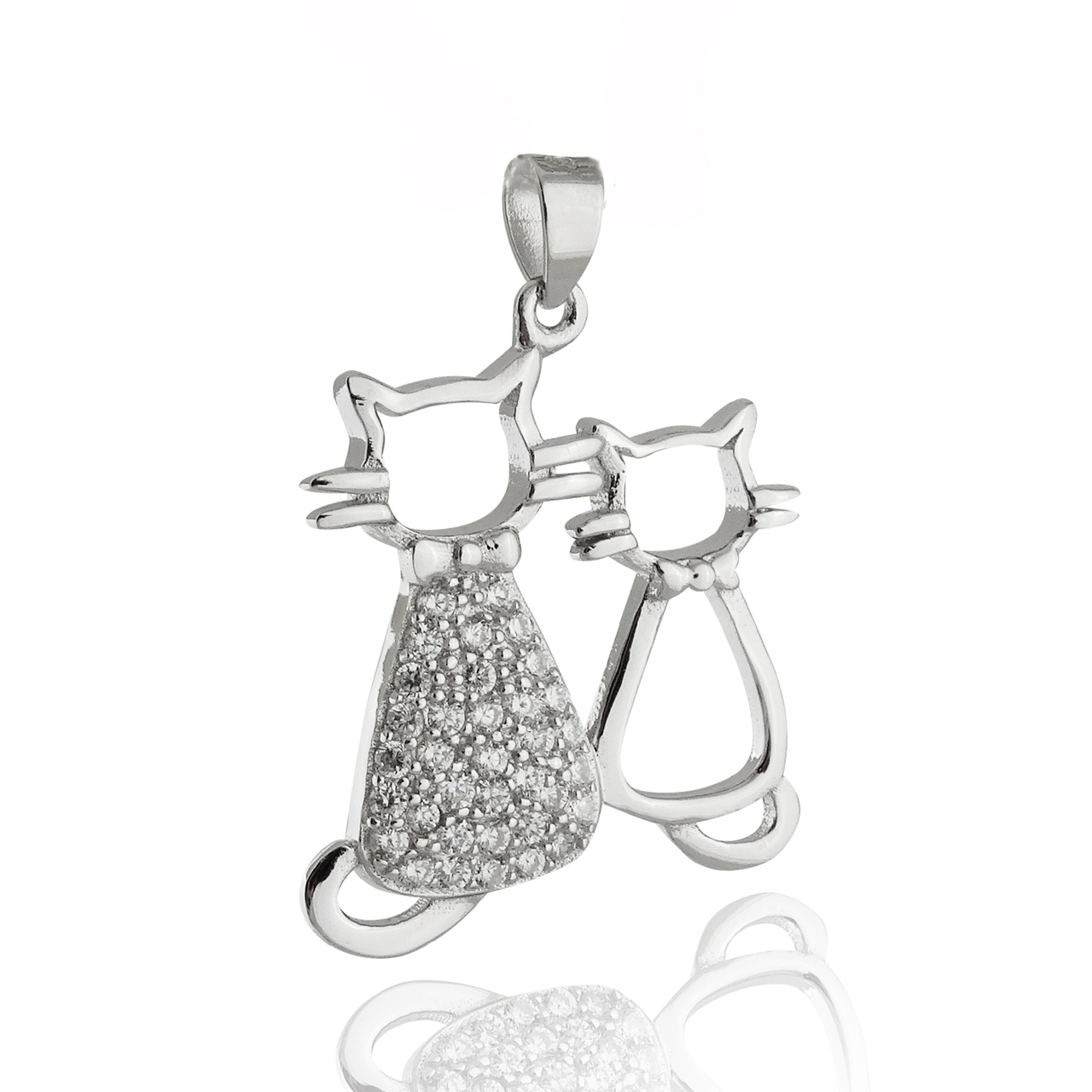 Two Cats Necklace - 925 Sterling Silver with CZ