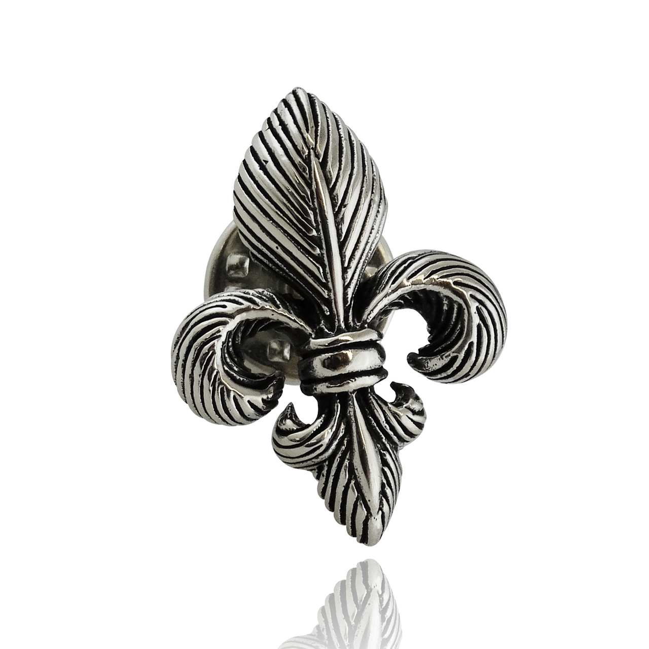 Fleur de Lis Lapel Pin - 925 Sterling Silver 3D Brooch NEW Orleans French NEW