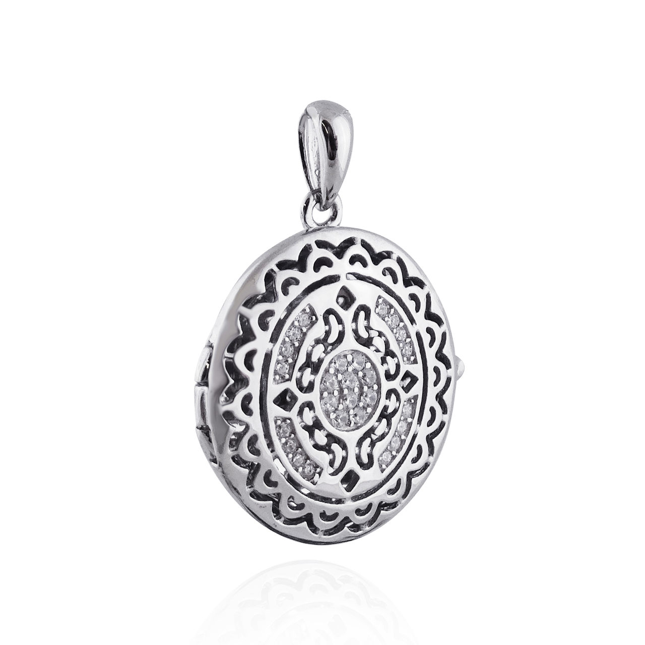 Decorative Filigree Locket Necklace - 925 Sterling Silver - CZ Accents