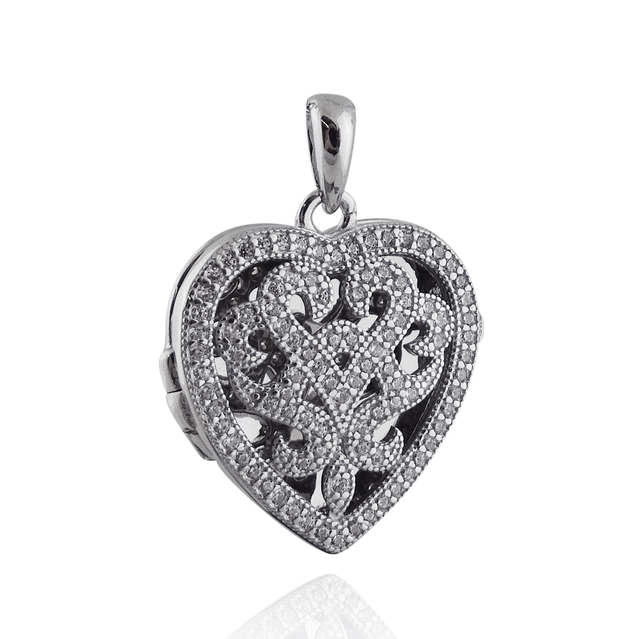 Heart Locket Necklace with CZ Swirl Design 925 Sterling Silver
