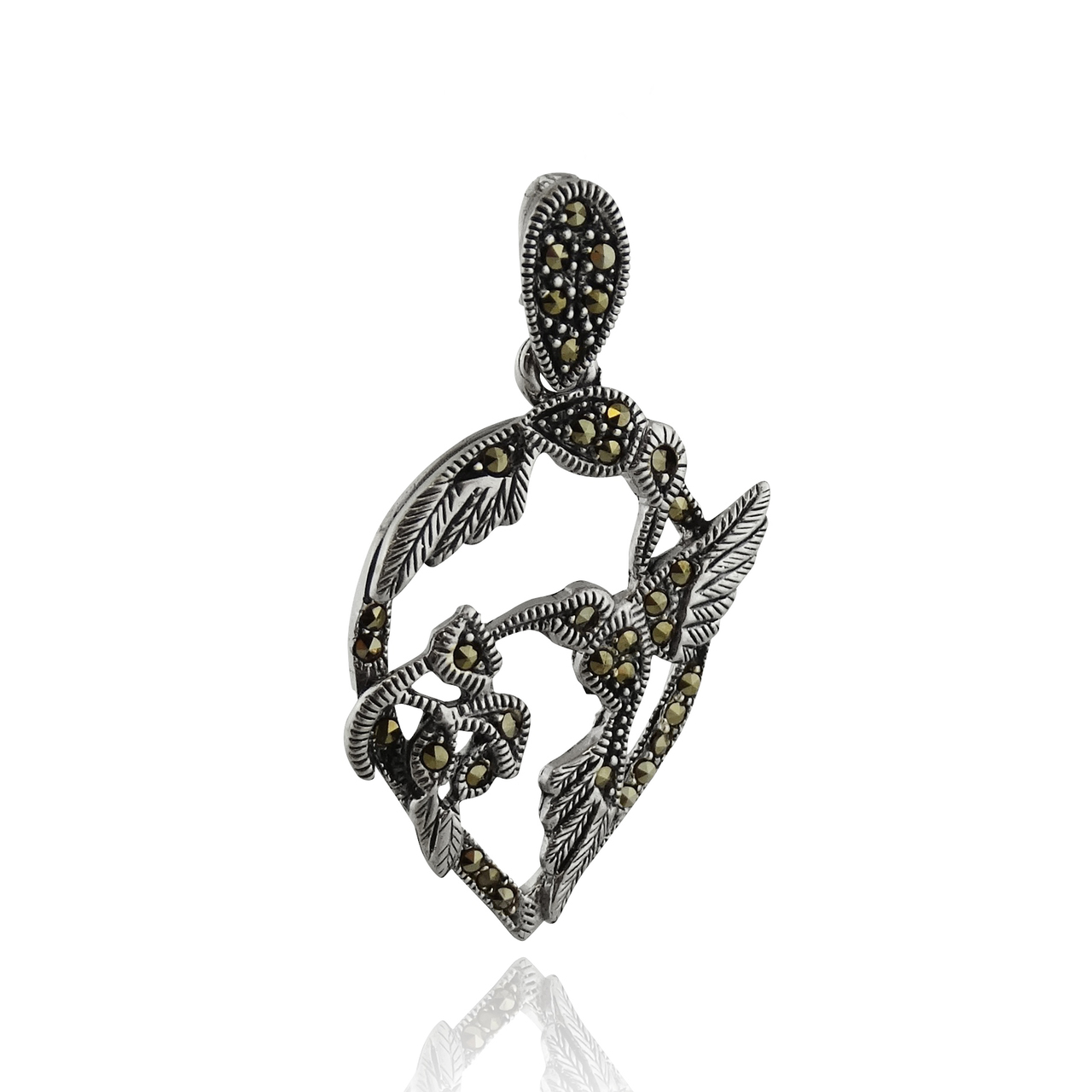 Sterling Silver Marcasite Hummingbird Pendant