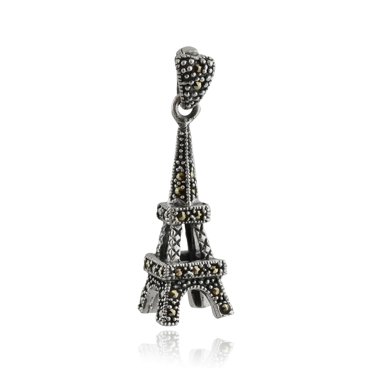 Sterling Silver 3D Marcasite Eiffel Tower Pendant
