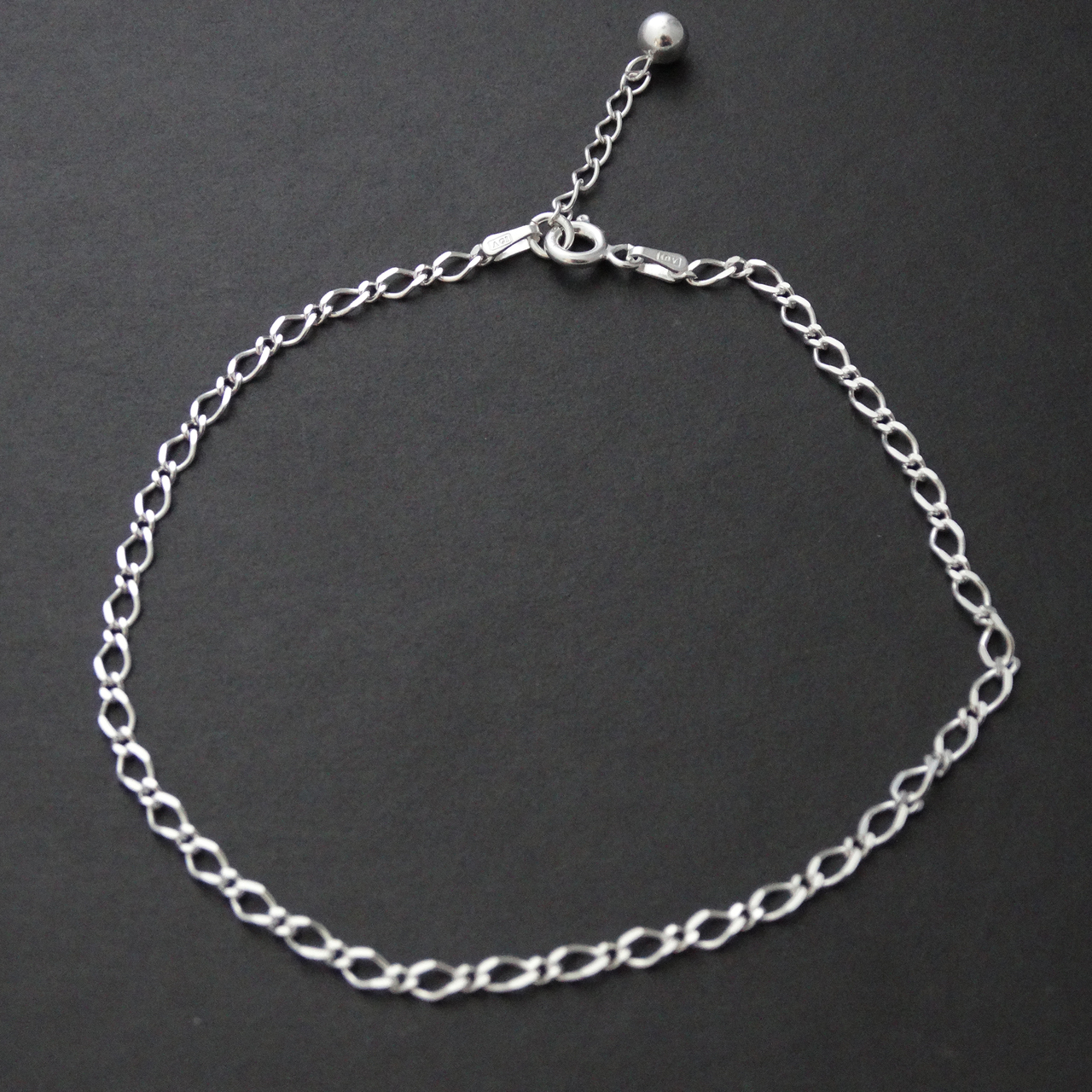 ''Figaro Charm ANKLET 10'''' - Sterling Silver''