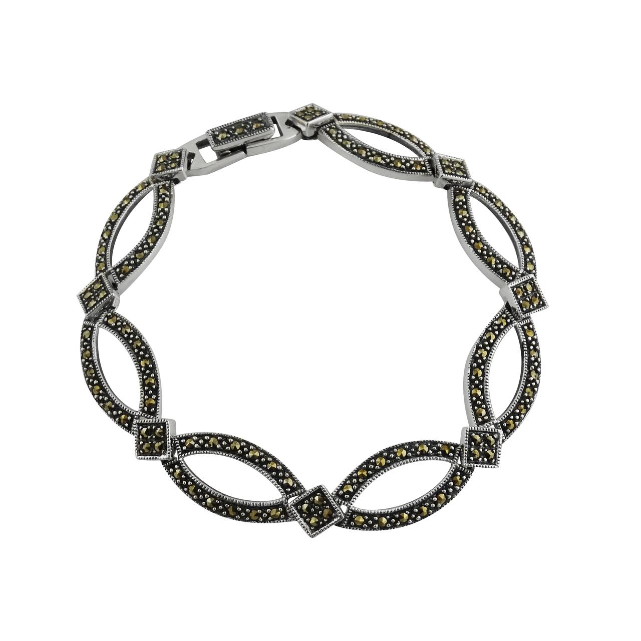 ''Sterling Silver Marcasite Geometric Almond Shaped 7'''' Link Bracelet''