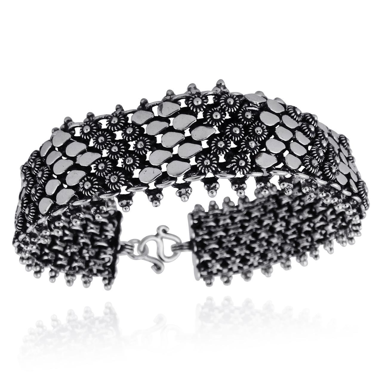 ''7'''' Flower Design Centipede Style Bracelet - 925 Sterling Silver''