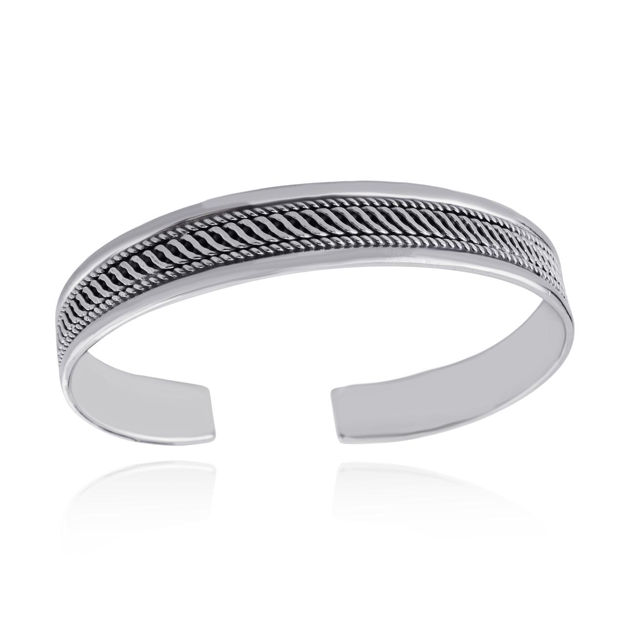 ''7.5'''' Twist Design Cuff Bracelet - 925 Sterling Silver - Textured Adjustable''