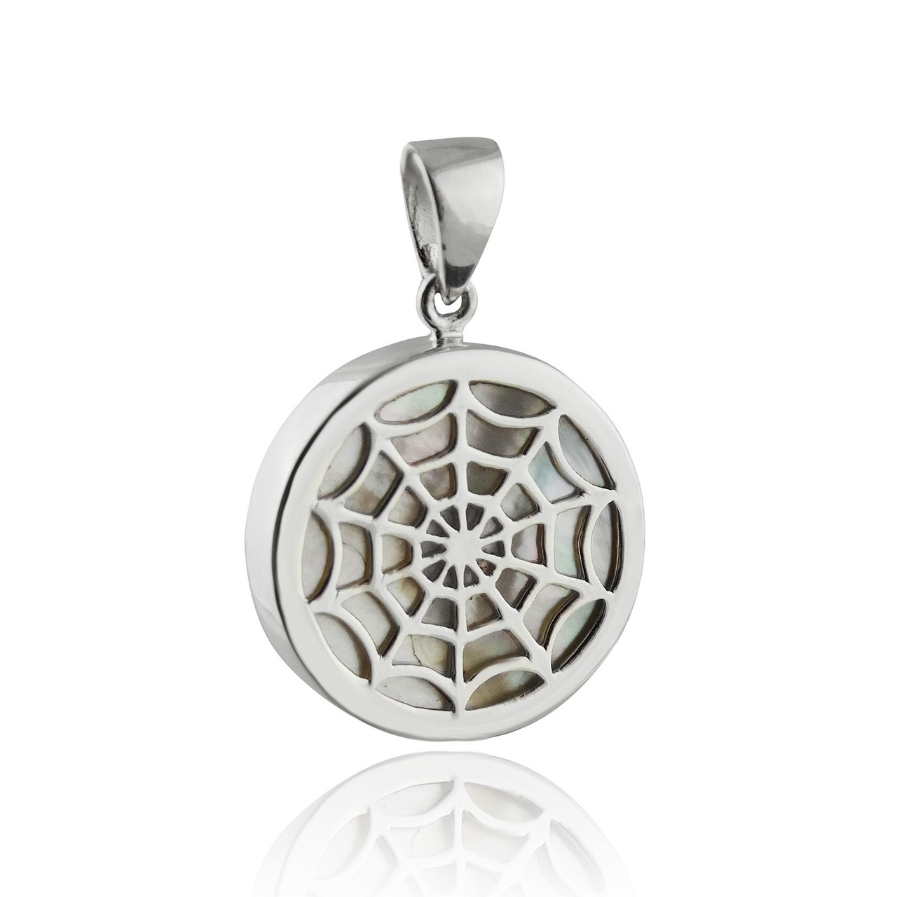 Genuine Mother of PEARL Spiderweb Pendant - 925 Sterling Silver