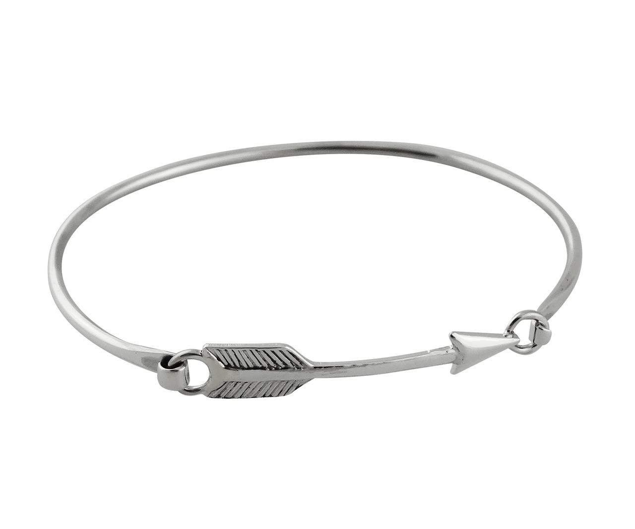 Sideways Arrow BANGLE Bracelet - 925 Sterling Silver