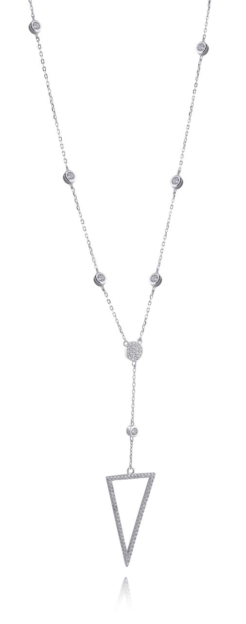 CZ Triangle Y-NECKLACE - 925 Sterling Silver - Lariat Y-NECKLACE