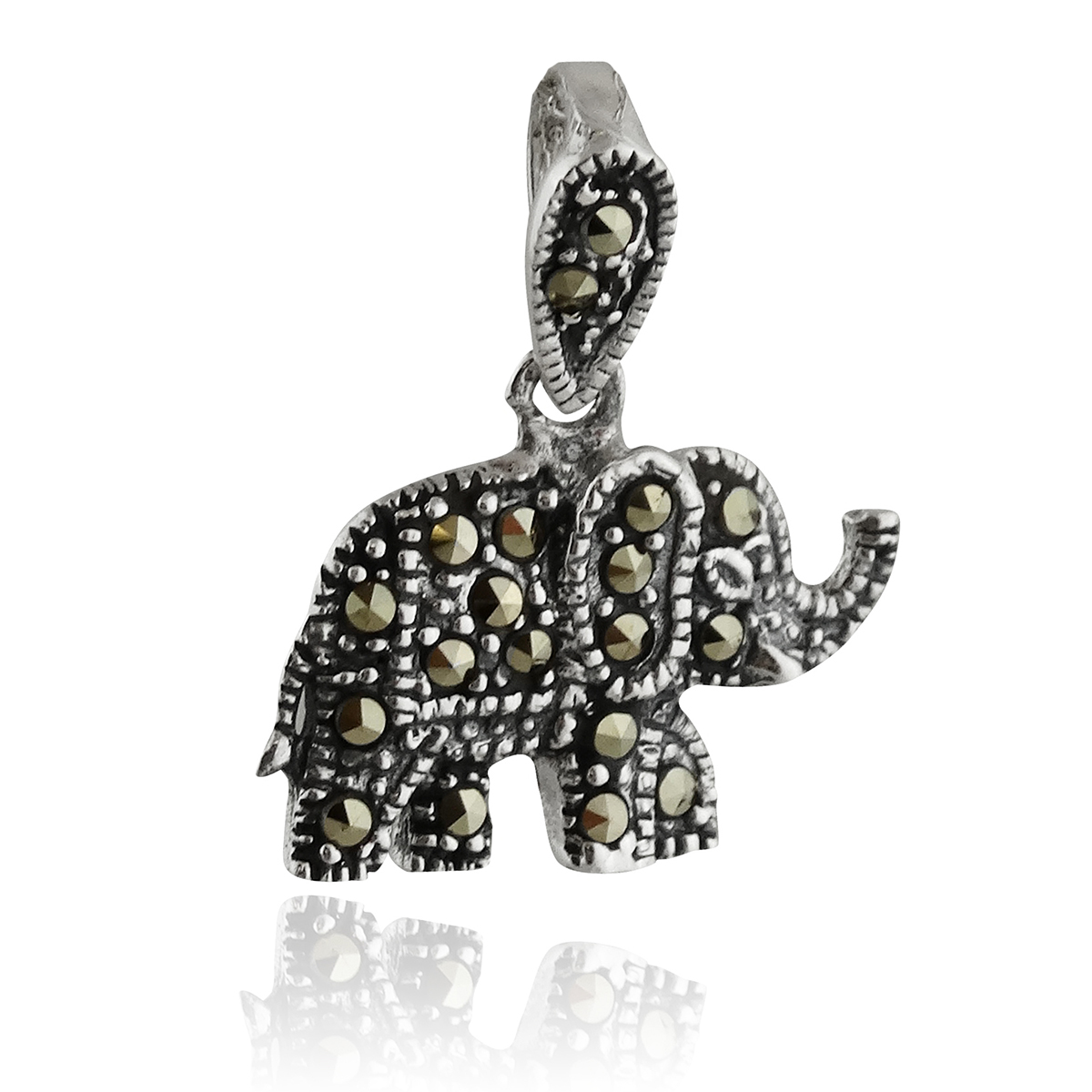 Sterling Silver Marcasite Elephant Pendant