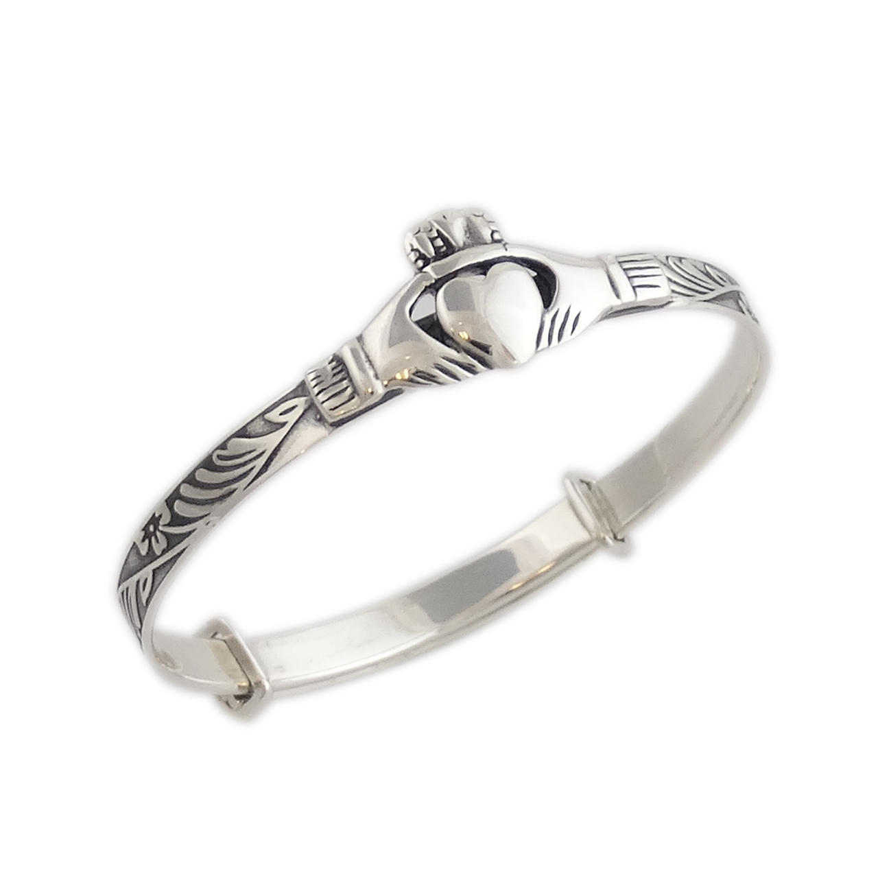 Baby Claddagh Adjustable BANGLE Bracelet - Sterling Silver
