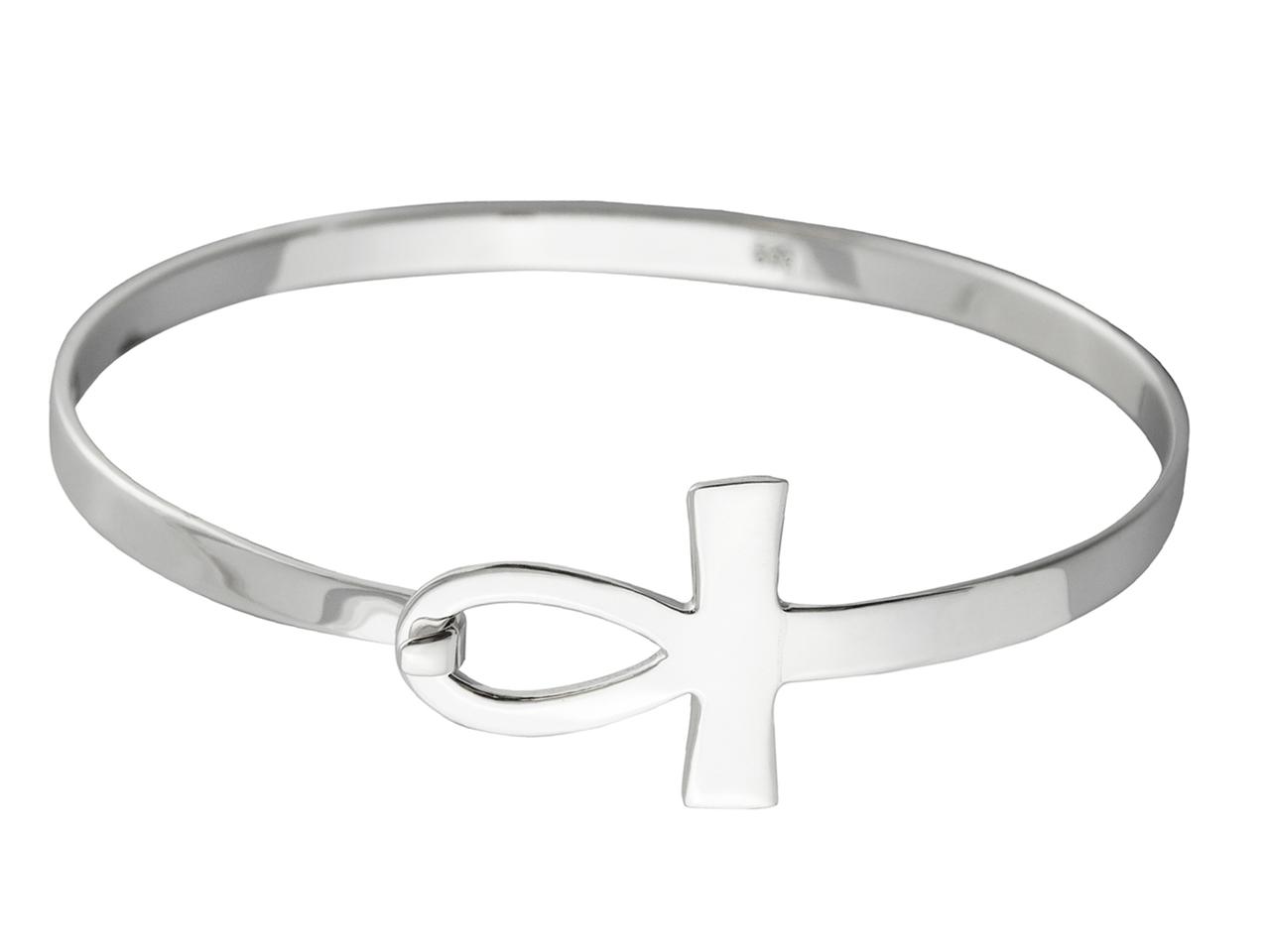 Sideways Ankh BANGLE Bracelet - 925 Sterling Silver
