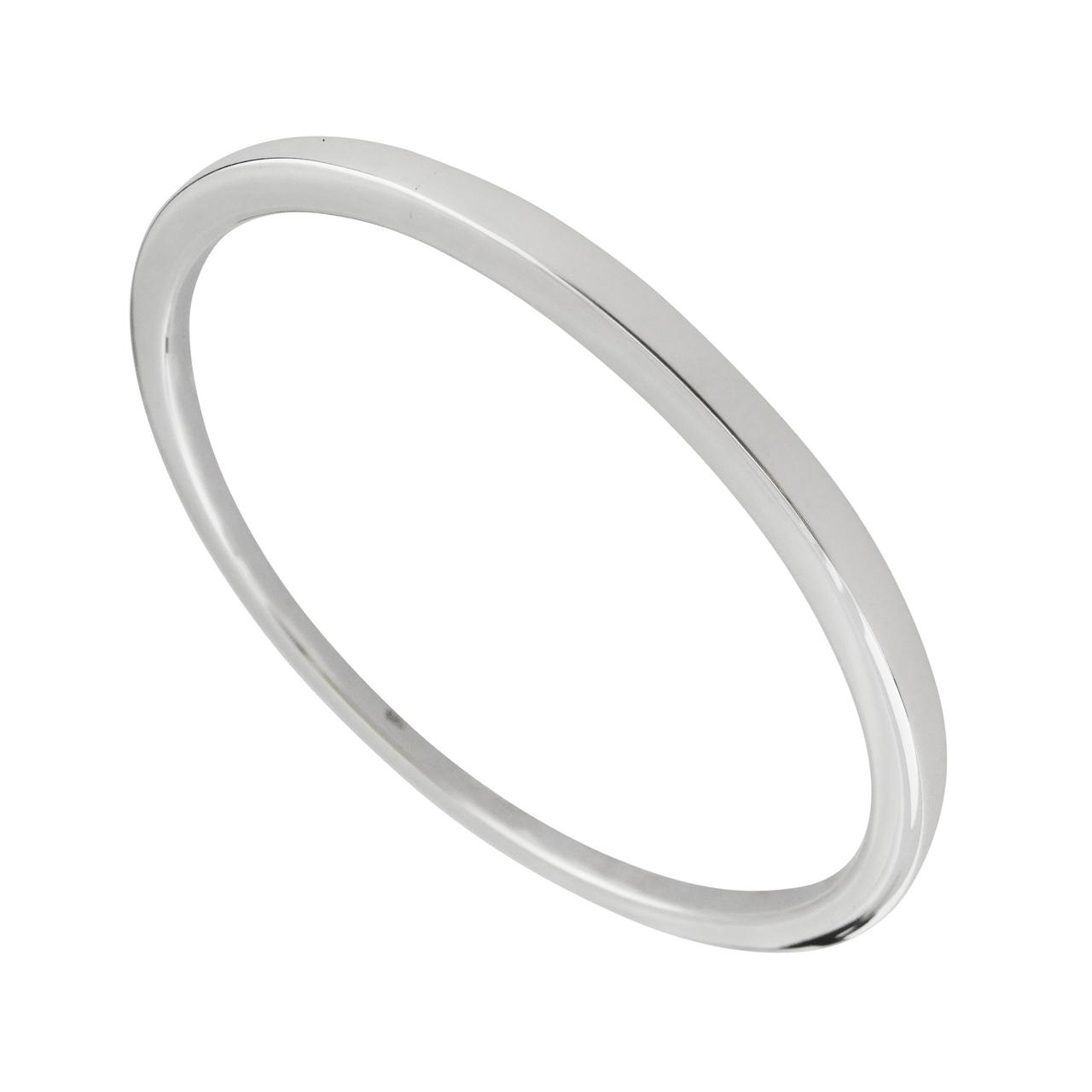 ''8.5'''' Plain Round BANGLE Bracelet - 925 Sterling Silver - Hollow Lightweight''