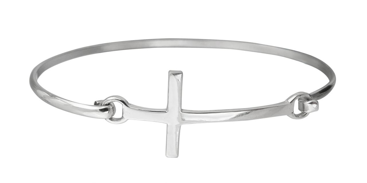 Sideways Cross BANGLE Bracelet - 925 Sterling