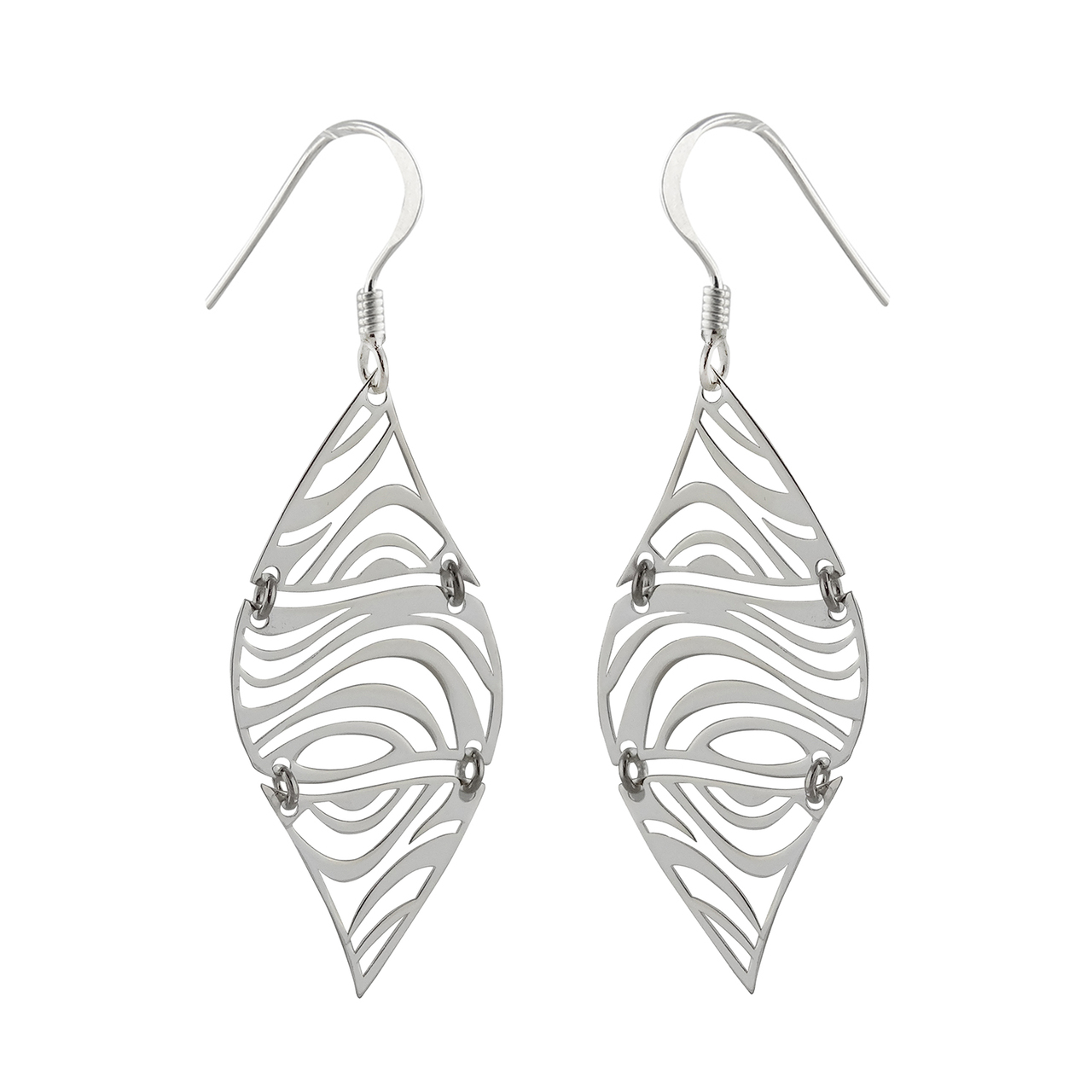 Zebra Print DANGLE Earrings -  925 Sterling Silver