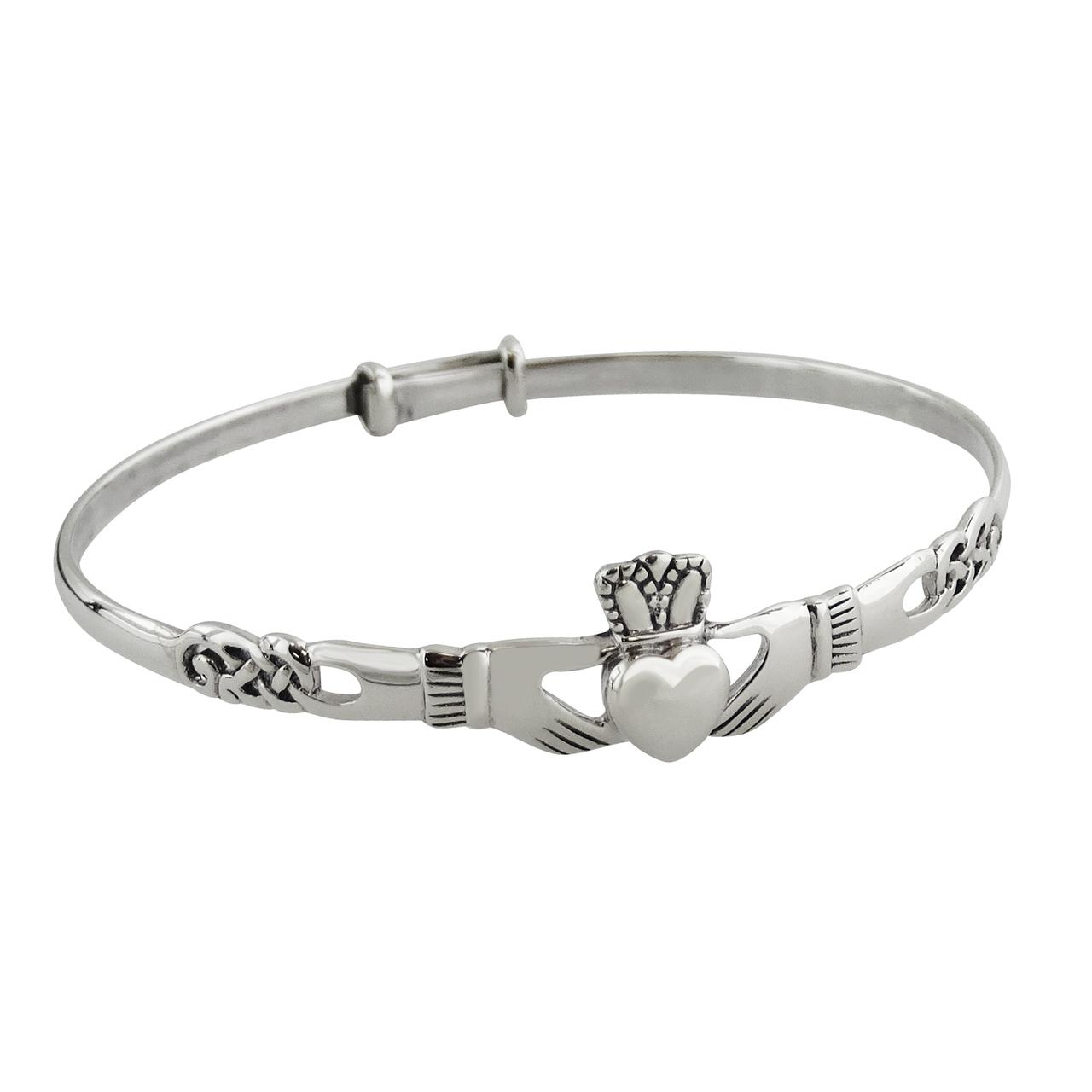 Irish Claddagh BANGLE Bracelet - 925 Sterling Silver - Celtic Knot 64mm
