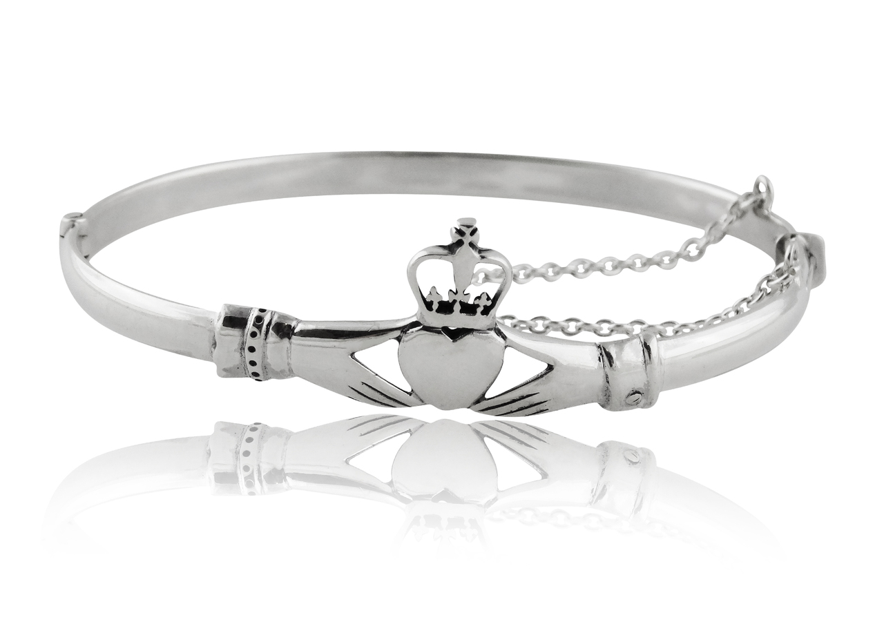 Claddagh BANGLE Bracelet with Safety Chain - 925 Sterling Silver