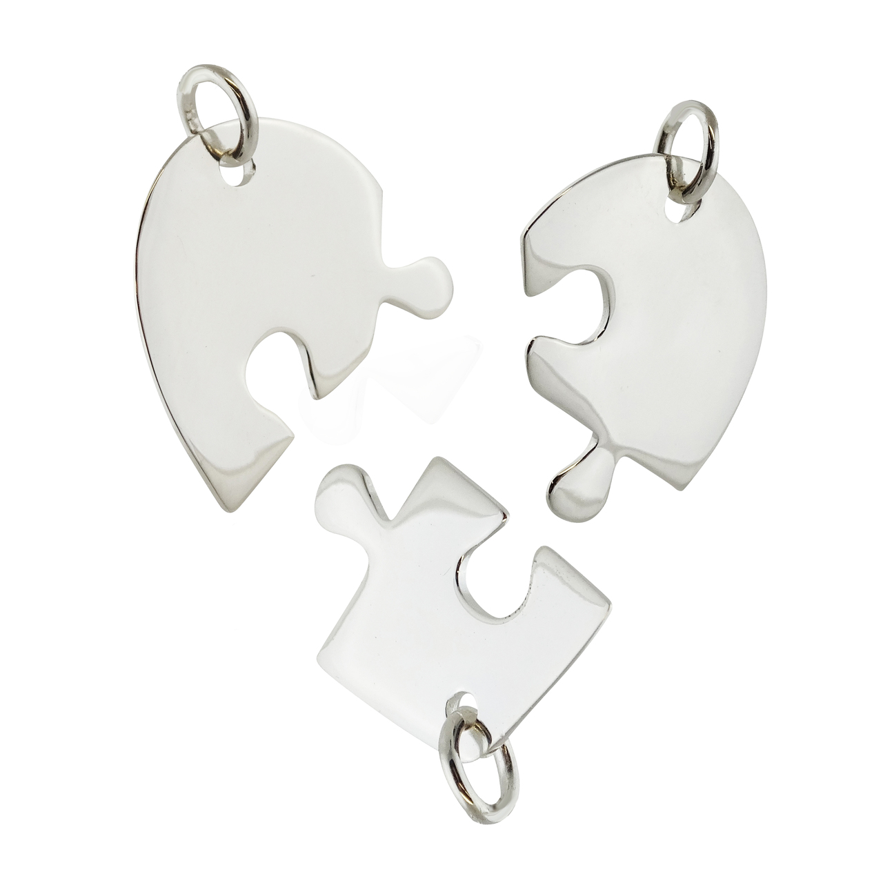 Sterling Silver Stamping Blank 3 Piece Heart PUZZLE Pendant