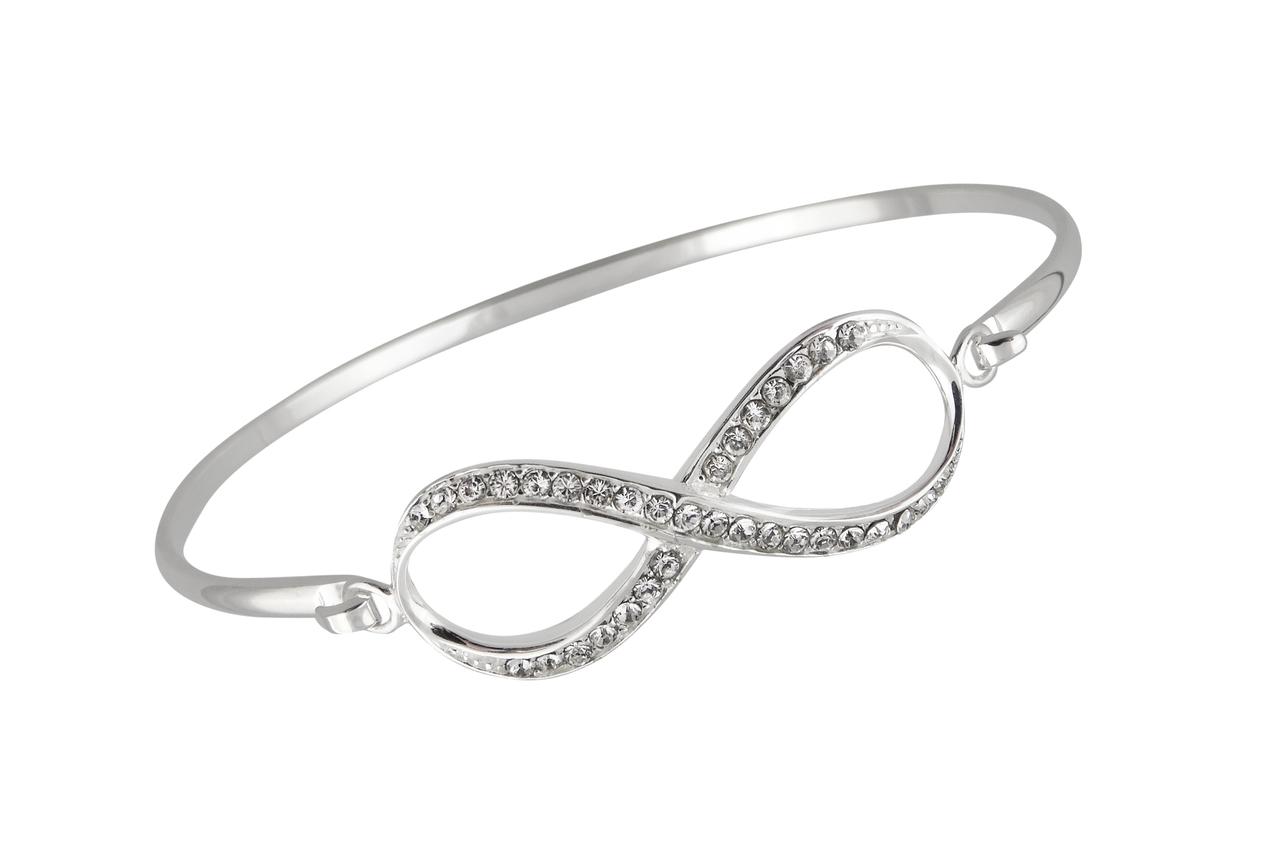 Infinity BANGLE Bracelet - 925 Sterling Silver