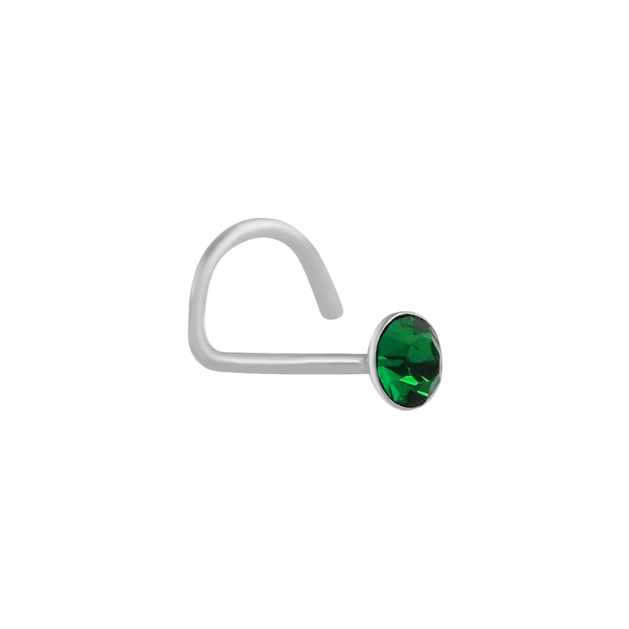 Round Green CZ Nose Stud with Nostril Screw - 925 Sterling Silver