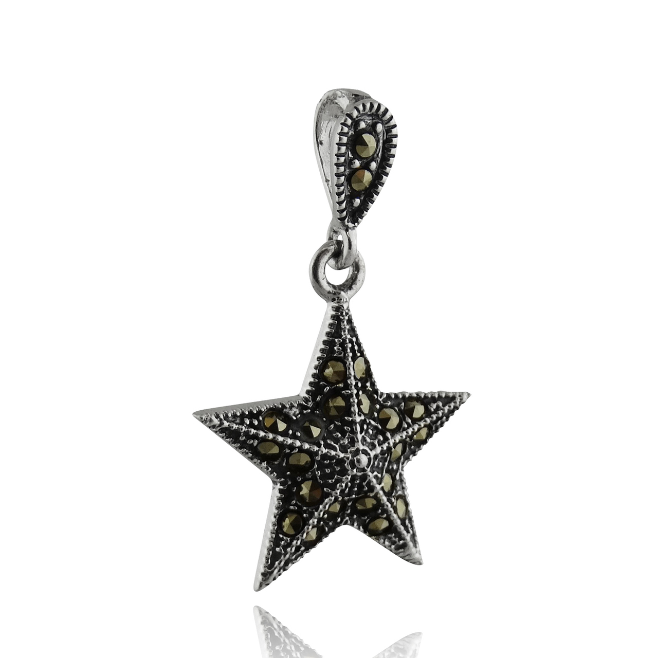 Sterling Silver Marcasite Nautical Star Pendant