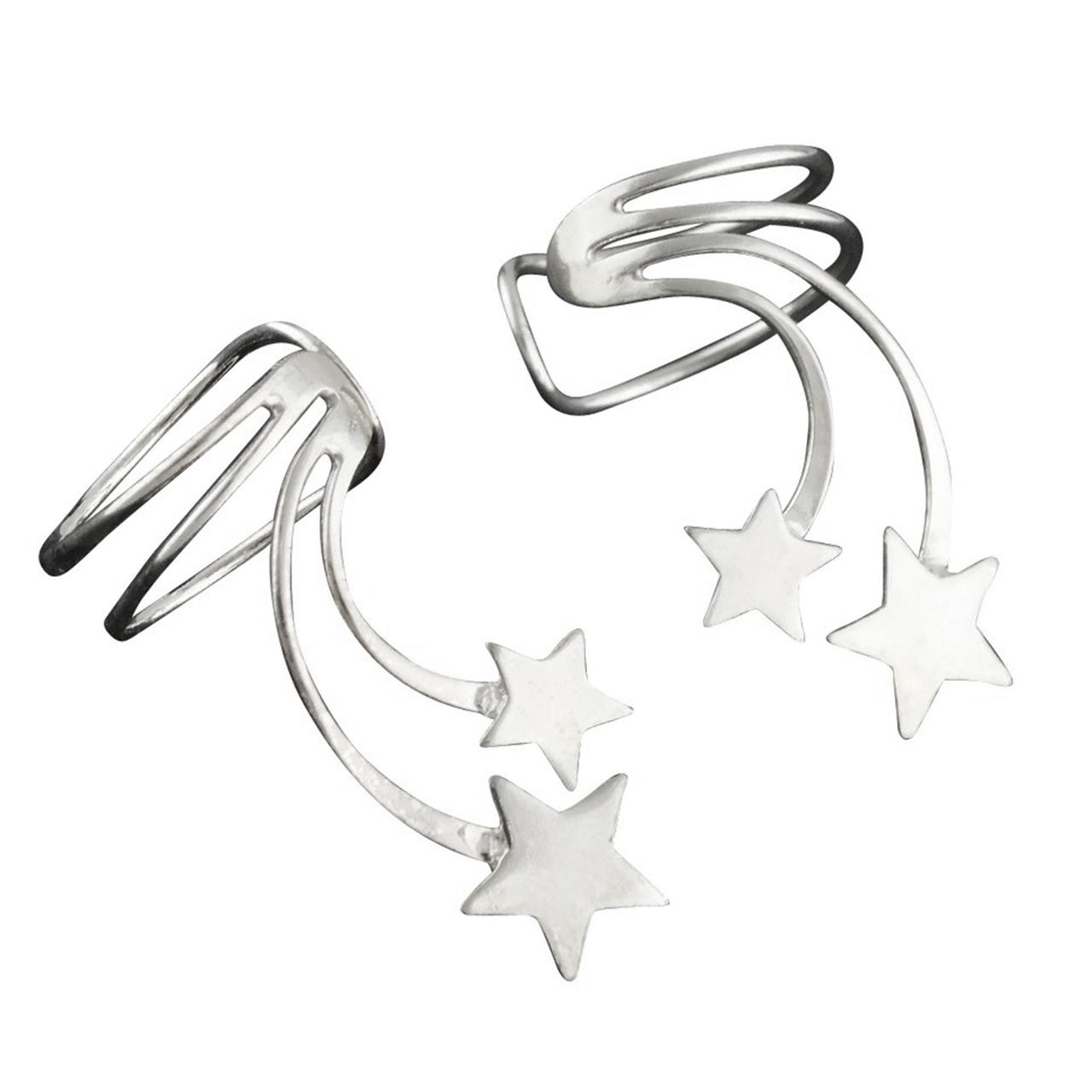 ''Sterling Silver Shooting Stars Ear Cuff Earrings, 1 Pair No piercing Slide on''