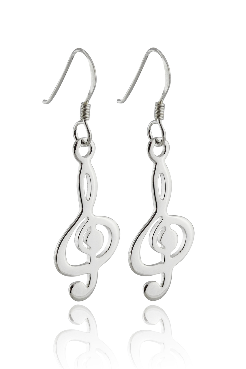 Treble Clef DANGLE Earrings - 925 Sterling Silver